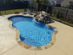 Freeform Fiberglass pool with waterfall