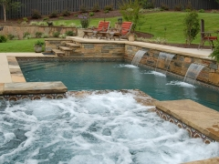 Gunite pool & spa with sheer descents