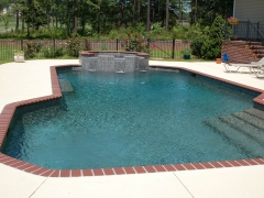 Gunite pool with raised spa