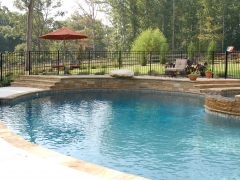 Gunite pool with raised wall