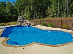 Lazy L Vinyl Swimming Pool with Swimout_ Faux Rock Water Slide_ Spraycrete Decking
