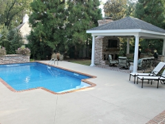 Small Vinyl Swimming Pool_ Brick Planter with Sheer Descent Water Feature_ Outdoor Living Room