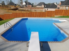 True L Vinyl Swimming Pool_ Brick Coping_ Fiberglass Diving Board