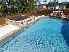 Vinyl Swimming Pool_ Hot Tub Enclosure_ Fire Bowls_ Real Stone Water Fall